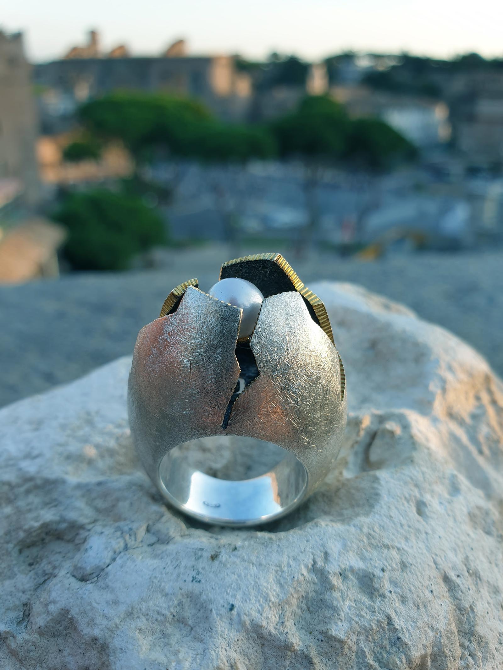 Angelo Donadeo, Uovo Cosmico, anello, argento 925, perla